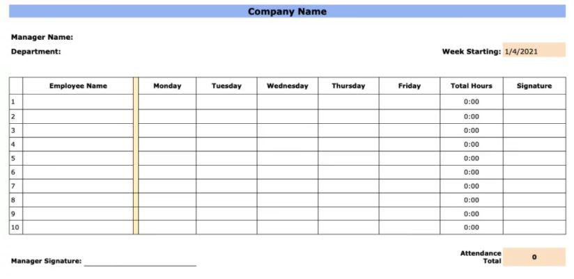 Hoja de asistencia semanal del empleado